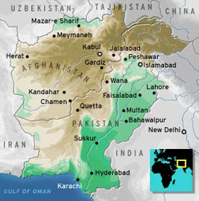 Regional Map of the Afghani-Pakistani border