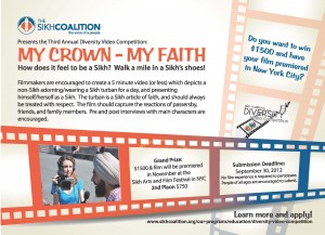 Sikh Coalition Diversity Video Competition 2012 Flyer